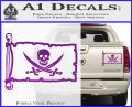 Jolly Roger Calico Jack Rackham Pirate Flag INT Decal Sticker Purple Vinyl 120x97