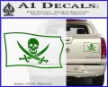 Jolly Roger Calico Jack Rackham Pirate Flag SL Decal Sticker Green Vinyl 120x97