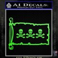 Jolly Roger Christopher Condent Pirate Flag INT Decal Sticker Lime Green Vinyl 120x120