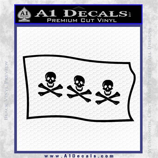 Jolly Roger Christopher Condent Pirate Flag SL Decal Sticker Black Logo Emblem