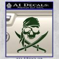 Jolly Roger Decal Sticker Pirate Crossbones D2 Dark Green Vinyl 120x120