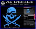 Jolly Roger Decal Sticker Pirate Crossbones D2 Light Blue Vinyl 120x97