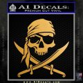 Jolly Roger Decal Sticker Pirate Crossbones D2 Metallic Gold Vinyl 120x120