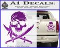 Jolly Roger Decal Sticker Pirate Crossbones D2 Purple Vinyl 120x97