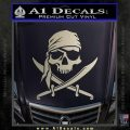 Jolly Roger Decal Sticker Pirate Crossbones D2 Silver Vinyl 120x120