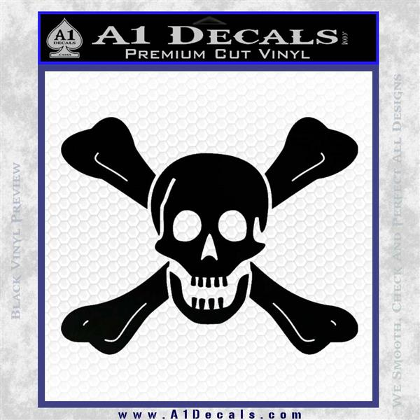 Jolly Roger Richard Worley Crossbones Decal Sticker. Black Logo Emblem