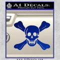 Jolly Roger Richard Worley Crossbones Decal Sticker. Blue Vinyl 120x120