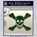 Jolly Roger Richard Worley Crossbones Decal Sticker. Dark Green Vinyl 120x120