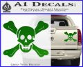Jolly Roger Richard Worley Crossbones Decal Sticker. Green Vinyl 120x97