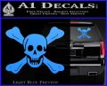 Jolly Roger Richard Worley Crossbones Decal Sticker. Light Blue Vinyl 120x97