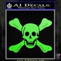 Jolly Roger Richard Worley Crossbones Decal Sticker. Lime Green Vinyl 120x120