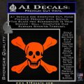 Jolly Roger Richard Worley Crossbones Decal Sticker. Orange Vinyl Emblem 120x120