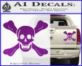 Jolly Roger Richard Worley Crossbones Decal Sticker. Purple Vinyl 120x97