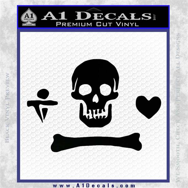Jolly Roger Stede Bonnet Crossbones Decal Sticker. Black Logo Emblem