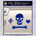Jolly Roger Stede Bonnet Crossbones Decal Sticker. Blue Vinyl 120x120