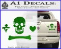 Jolly Roger Stede Bonnet Crossbones Decal Sticker. Green Vinyl 120x97