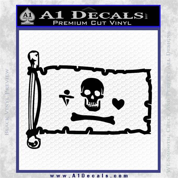 Jolly Roger Stede Bonnet Pirate Flag INT Decal Sticker Black Logo Emblem