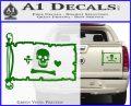 Jolly Roger Stede Bonnet Pirate Flag INT Decal Sticker Green Vinyl 120x97