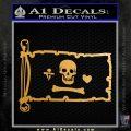 Jolly Roger Stede Bonnet Pirate Flag INT Decal Sticker Metallic Gold Vinyl 120x120