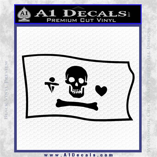 Jolly Roger Stede Bonnet Pirate Flag SL Decal Sticker Black Logo Emblem