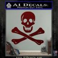 Jolly Rogers Edward England Crossbones Decal Sticker Dark Red Vinyl 120x120