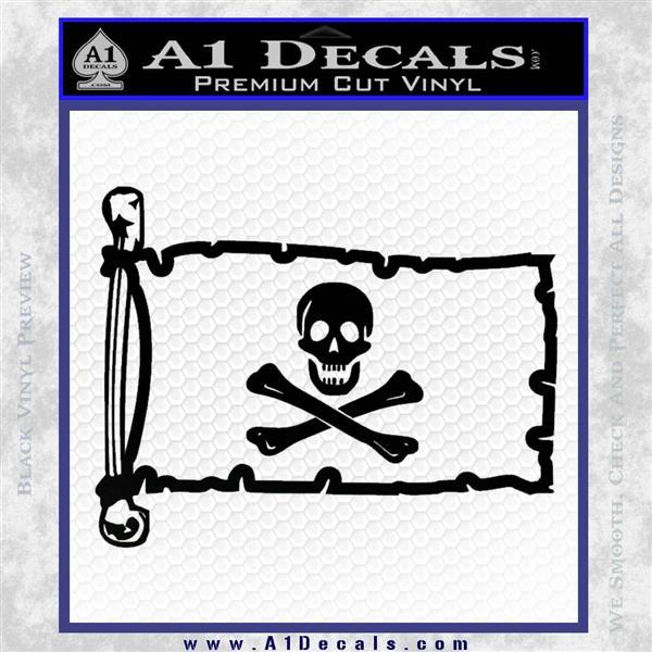 Jolly Rogers Edward England Pirate Flag INT Decal Sticker Black Logo Emblem