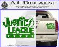 Justice League Text Logo Vinyl Decal Sticker Green Vinyl 120x97
