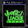 Justice League Text Logo Vinyl Decal Sticker Lime Green Vinyl 120x120