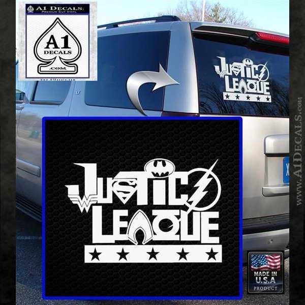 Justice League Text Logo Vinyl Decal Sticker White Emblem