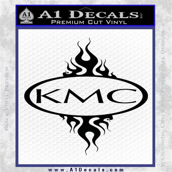 KMC Wheels Flame Decal Sticker Black Logo Emblem