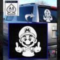 Mario Double Middle Fingers Vinyl Decal Sticker White Emblem 120x120