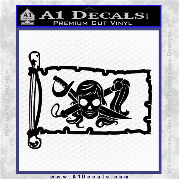 Molly Roger Pirate Flag INT Decal Sticker Black Logo Emblem