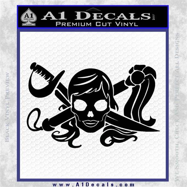 Molly Roger Whip Sword Crossbones Decal Sticker Black Logo Emblem