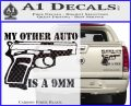My Other Auto Is 9mm Decal Sticker Carbon Fiber Black 120x97
