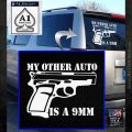 My Other Auto Is 9mm Decal Sticker White Emblem 120x120