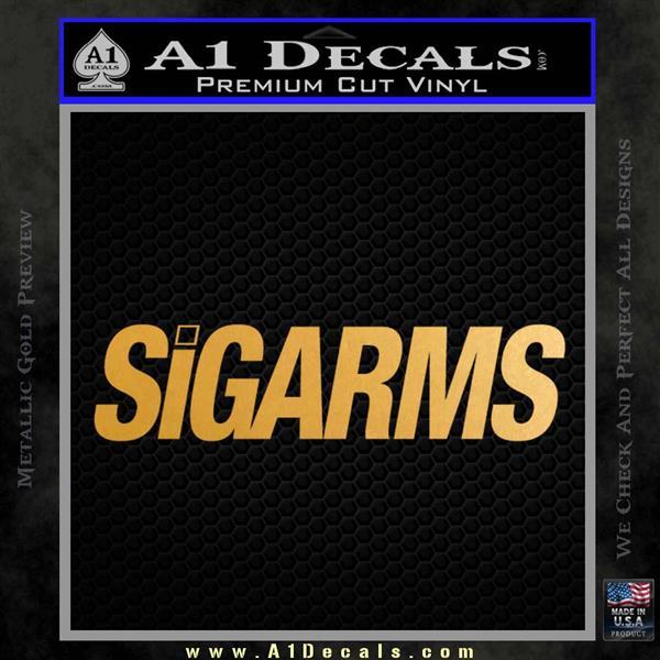 Sigarms Sig Sauer Decal Sticker Metallic Gold Vinyl