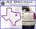 Texas Outline Decal Sticker Customizeable Purple Vinyl 120x97
