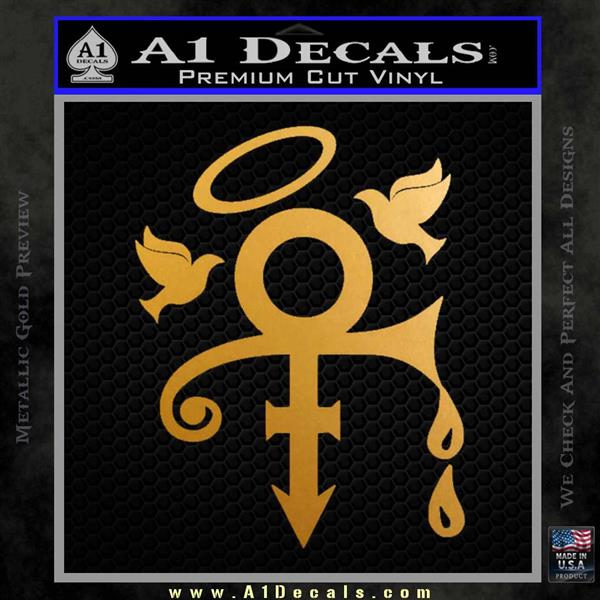 Prince Doves Cry Halo Decal Sticker Metallic Gold Vinyl