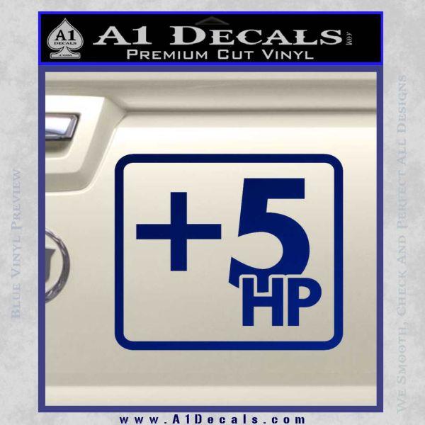 +5 HP Funny JDM Decal Stick Blue Vinyl