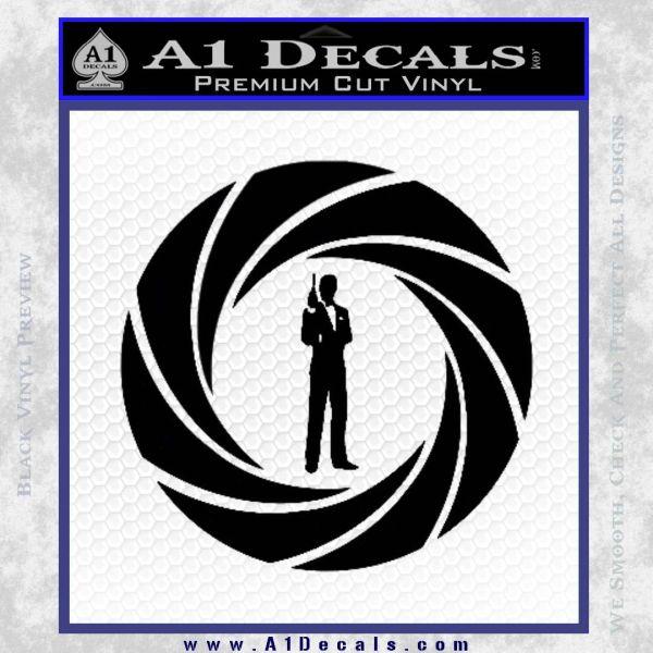 007 Circle Barrel James Bond Decal Sticker Black Vinyl