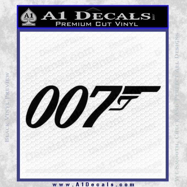 007 Decal Sticker James Bond Official Black Vinyl