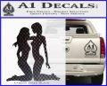 2 Lesbians Decal Sticker Carbon FIber Black Vinyl 120x97