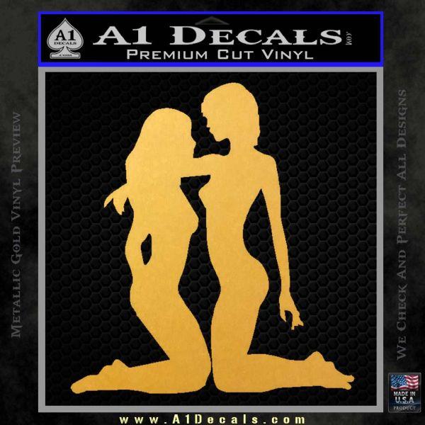 2 Lesbians Decal Sticker Gold Vinyl