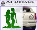 2 Lesbians Decal Sticker Green Vinyl Logo 120x97
