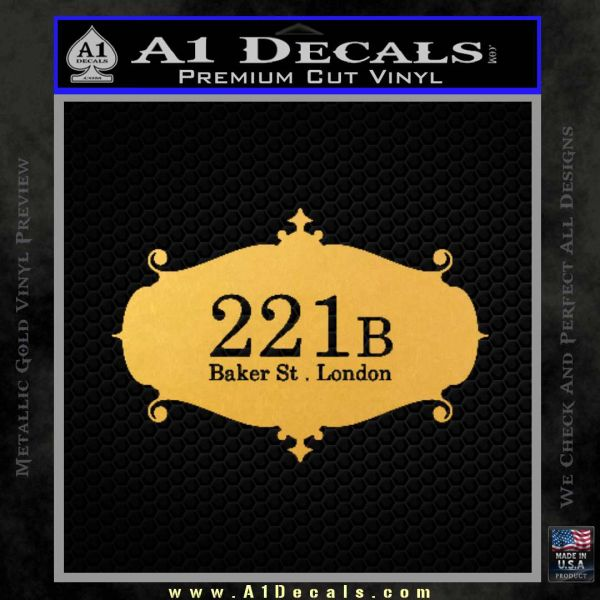 221 Baker Street Sherlock Sign Decal Sticker Gold Vinyl