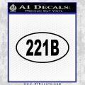 221b Sherlock Holmes Euro Decal Sticker Black Vinyl 120x120
