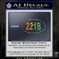 221b Sherlock Holmes Euro Decal Sticker Glitter Sparkle 120x120