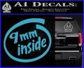 9mm Inside Gun Decal Sticker Light Blue Vinyl 120x97