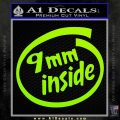 9mm Inside Gun Decal Sticker Lime Green Vinyl 120x120