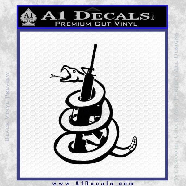 AR 15 Gadsden Snake Decal Sticker Black Vinyl